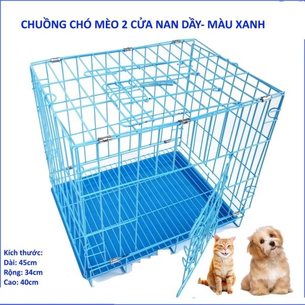 HCM -Chuồng nuôi chó mèo  XK - lồng nuôi chó mèo - chuồng chó - lồng chó gấp gọn sơn tĩnh điện CÓ 4 SIZE sd45 / sd50 /sd60 /sd75 (màu ngẫu nhiên) nuôi chó lồng / nhà chó / nhà mèo / chuồng mèo / chuồng thú cưng