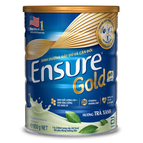 Lon sữa bột Ensure Gold Trà Xanh 850g (Hạn sử dụng: 28.05.2021)