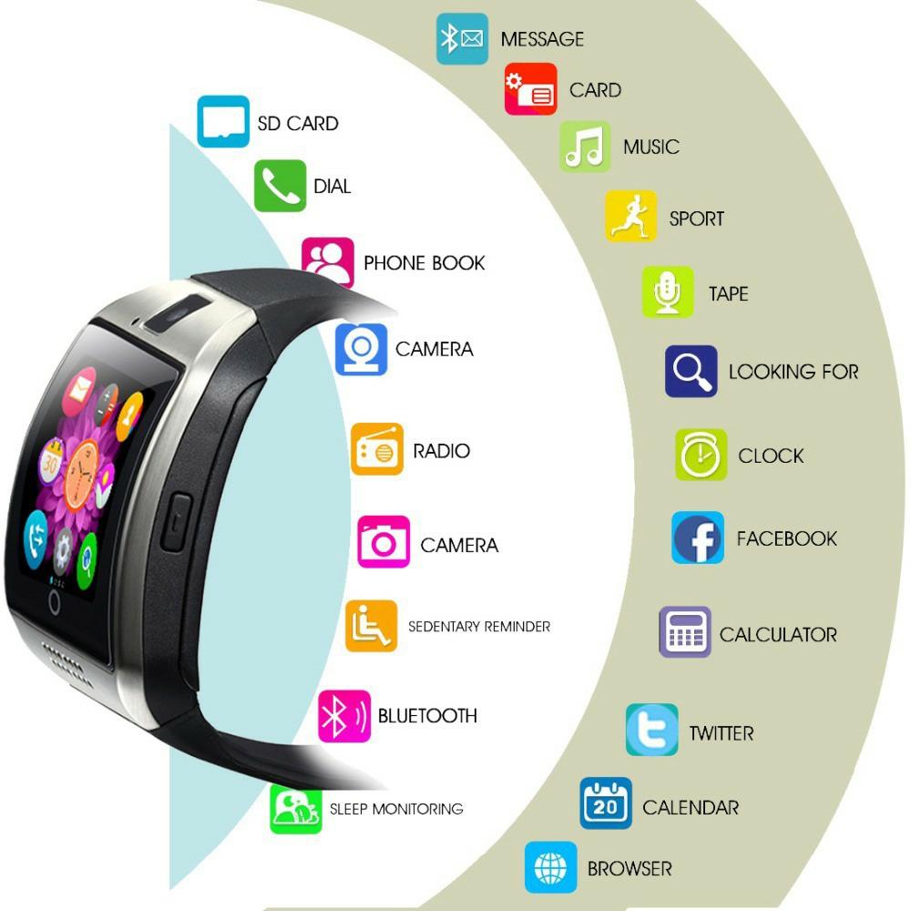 Đồng hồ thông minh Q Plus màn hình cong độc đáo. Nghe gọi hỗ trợ lắp sim, thẻ nhớ, kết nối bluetooth phù hợp mọi loại điện thoại Android, IOS