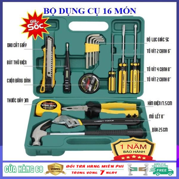 [Rẻ vô địch] Bộ dụng cụ sửa chữa đa năng 16 món loại tốt - Bộ dụng cụ sửa chữa xe máy, ô tô, đồ điện gia dụng, bộ đồ nghề sửa chữa gia đình, vật dụng cần thiết cho mọi nhà