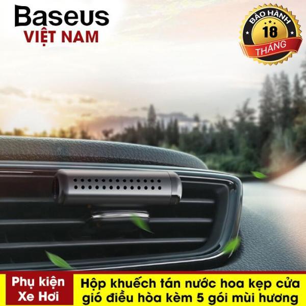 Bộ khuếch tán kèm nước hoa khô dùng cho xe hơi Baseus Horizontal Chubby Car Air Freshener (Metal Aromatherapy, Air Vent, Solid Perfume) - Phân phối bởi Baseus Vietnam