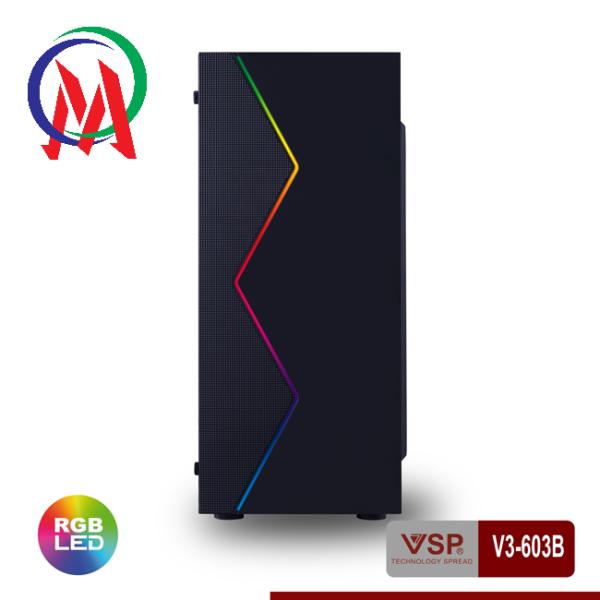 Giá Vỏ Case VSP V3-603B Có Sẵn LED RGB Và nắp hông Trong Suốt
