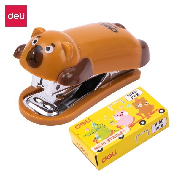 Mua Dập ghim mini #10 DELI hình gấu/heo/cá sấu, kèm hộp đựng ghim - 1 cái - E0452