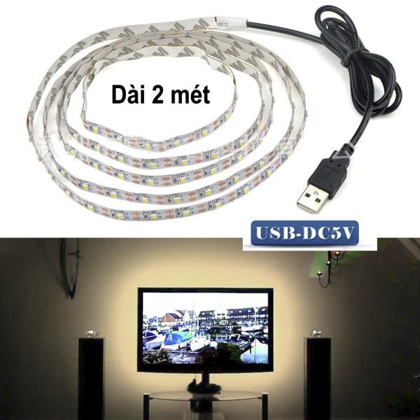 Cuộn Dây LED USB 5V dài 2 mét sáng vàng Dán sau Tivi, Tủ quần áo các loại