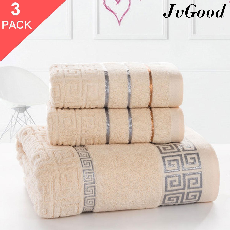 Jvgood Bath Towels Set 100% Cotton Natural Bathroom Towels Buy 1 Get 2 Free ! Bath Towel Size 70*140cm Free 2 Towels Size 34*70cm By Jvgood.