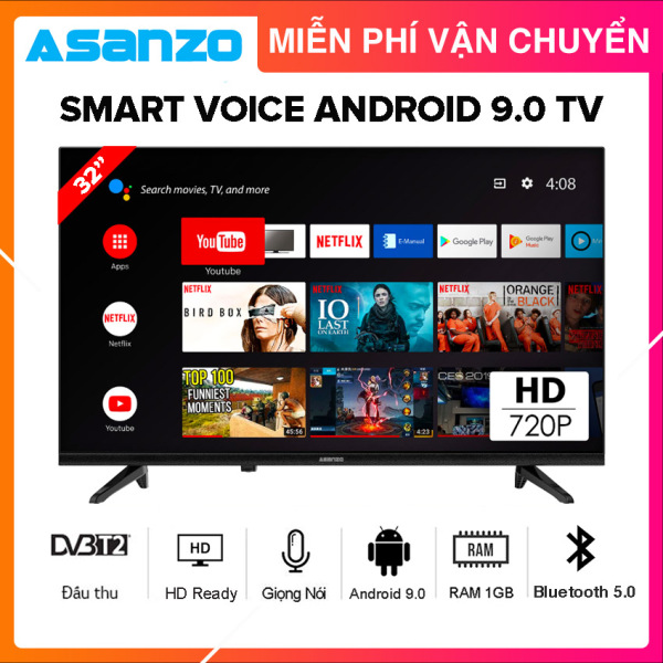 Bảng giá [SẢN PHẨM MỚI] Smart Voice Tivi Asanzo 32 inch HD - Model 32S51 Android 9.0, Điều khiển giọng nói, Bluetooth 5.0, Wifi 2.4GHz, Dolby Digital, Chromecast built-in, Netflix, Amazon Prime Video, Clip TV, DVB-T2, Tivi Giá Rẻ - Bảo Hành 2 Năm
