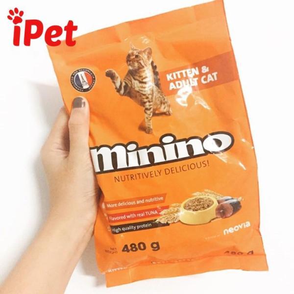 Thức Ăn Hạt Khô Minino Vị Cá Ngừ Cho Mèo Mọi Lứa Tuổi 480g- iPet Shop