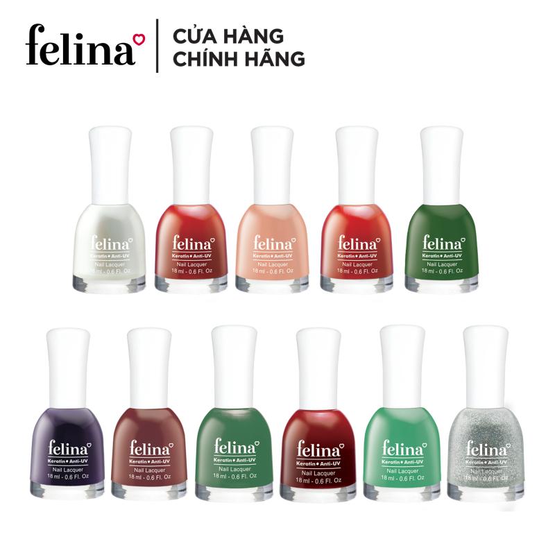 Sơn móng tay Felina 18ml - màu sắc đa dạng, bảo vệ móng và màu sơn nhờ tính năng chống tia UV, nuôi dưỡng và tái tạo móng với dưỡng chất Keratin, màu sắc đa dạng
