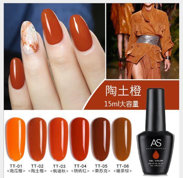 Set sơn móng gel AS 6 màu cam đất chai 15ml