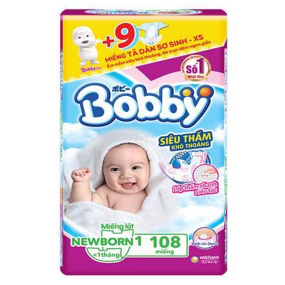 Tã Dán Bobby Newborn 1 Mẫu Mới 108 miếng
