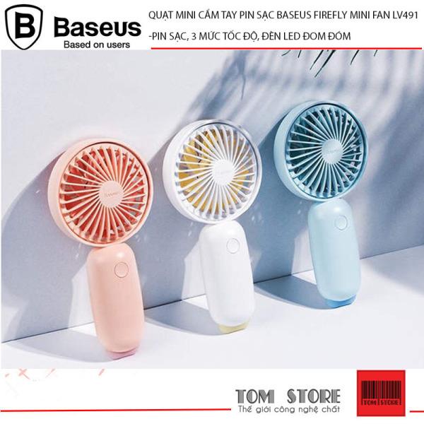 Quạt mini cầm tay pin sạc Baseus Bionic Firefly Mini Fan LV491 Pin sạc, 3 mức tốc độ, đèn LED đom đóm ngộ nghĩnh