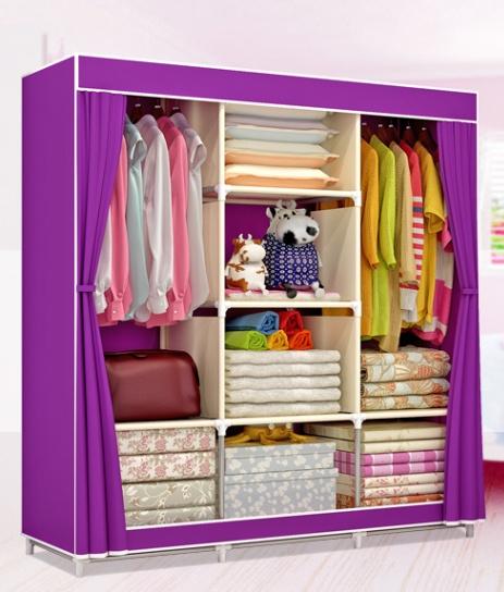 Tủ Vải Quần áo 3 Buồng 8 Ngăn Tủ Nhựa, Tủ Quần áo, Tủ Vải, Tủ Vải đựng Quần áo, Tủ Vải Quần áo Gia đình , Tủ Vải Treo Quần áo- TỦ QUẦN ÁO 3 BUỒNG 8 NGĂN INOX CAO CẤP - TỦ VẢI LẮP GHÉP XẾP GỌN CỰC TIỆN DỤNG Đang Ưu Đãi