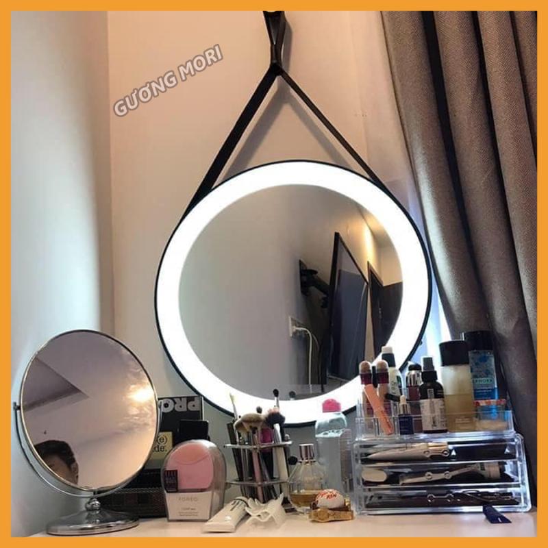 (SIZE 40cm) GƯƠNG TRÒN VIỀN DA CÓ ĐÈN LED
