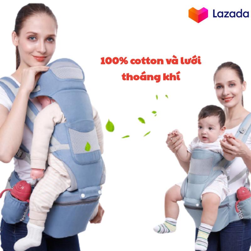 Địu ngồi đa năng cho bé 3 in 1 có bệ ngồi, đai đỡ đầu và ngăn chứa đồ - Bảo vệ xương, chống gù lưng