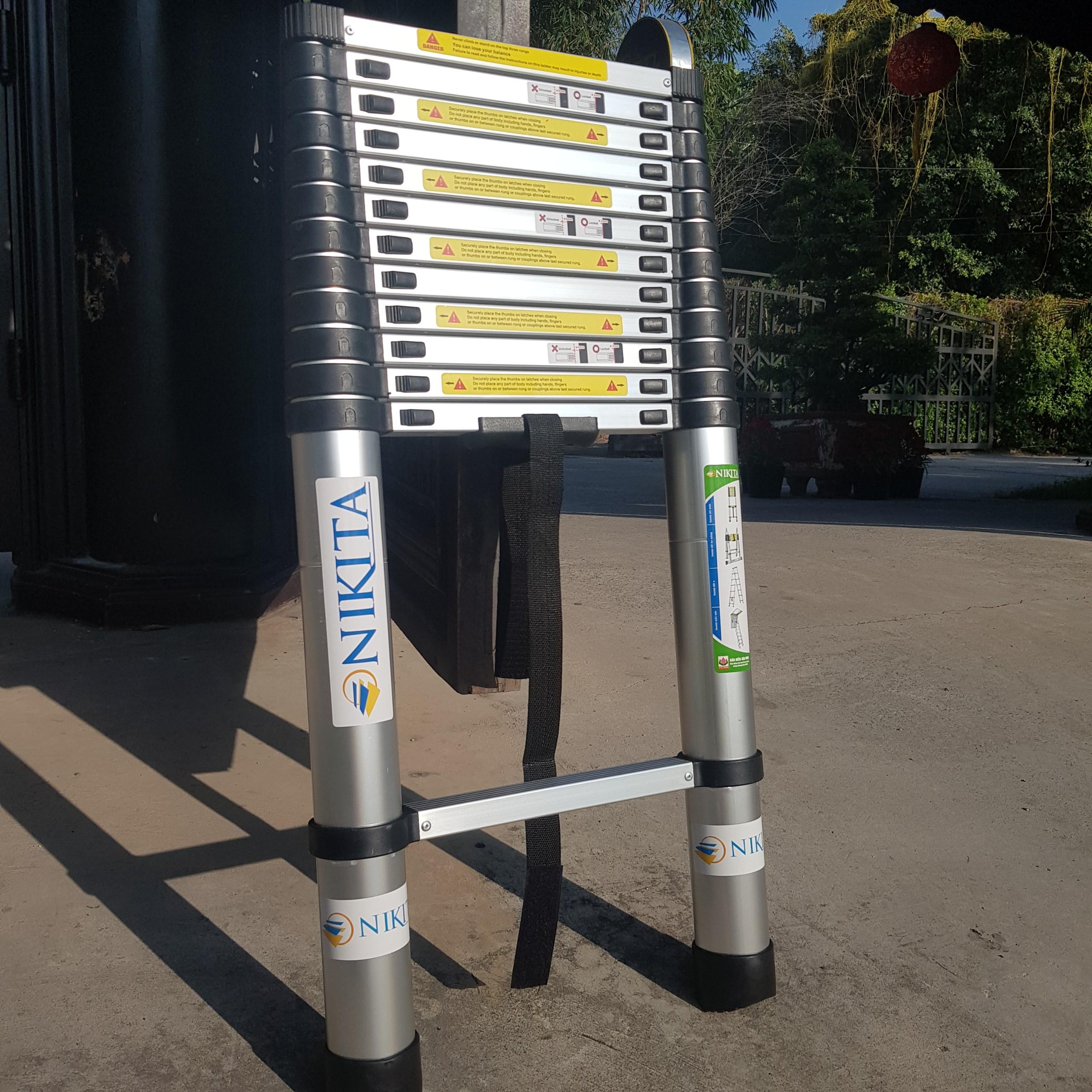 Thang nhôm rút 2 mét 6 [NIKITA] - Tiêu chuẩn Châu Âu chính hãng - R26