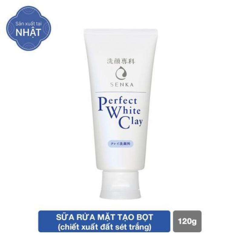 Sữa rửa mặt tạo bọt đất sét trắng Giúp loại bỏ tế bào chết cho làn da sáng rạng rỡ và đều màu Senka Perfect White Clay 120g nhập khẩu