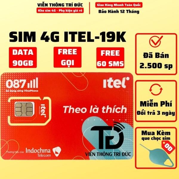 [HCM]Sim 4G iTel iTelecom May77 Data 90Gb/Tháng Gọi Miễn Phí Free 60 tin nhắn Sim indochina v77 - Sim 4G mạng Vinaphone giá rẻ - phủ sóng toàn quốc - Phí duy trì 77k/tháng