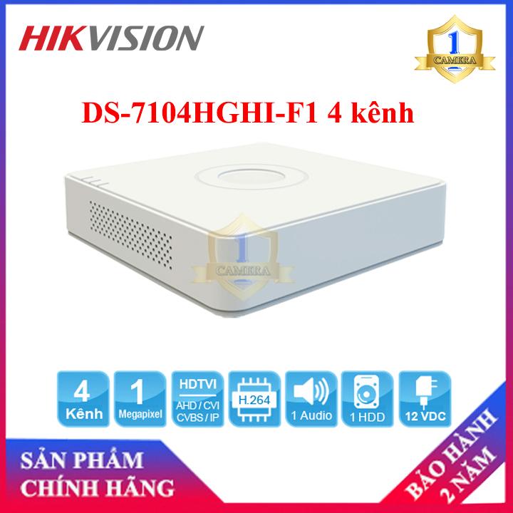 Đầu ghi Camera TVI HIKVISION DS-7104HGHI-F1 4 kênh, hỗ trợ camera TVI 2MP ở chế độ lite - Camera Số 1