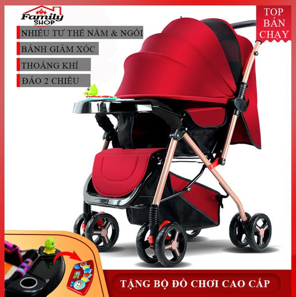 Xe nôi - xe đẩy em bé 2 chiều phiên bản cao cấp nhiều tư thế nằm ngồi, chất liệu thoáng mát, bánh xe có giảm sóc, khóa đai an toàn, có thể gấp gọn - BẢO HÀNH 2 NĂM, ĐỔI MỚI 1-1 TRONG 7 NGÀY NẾU CÓ LỖI