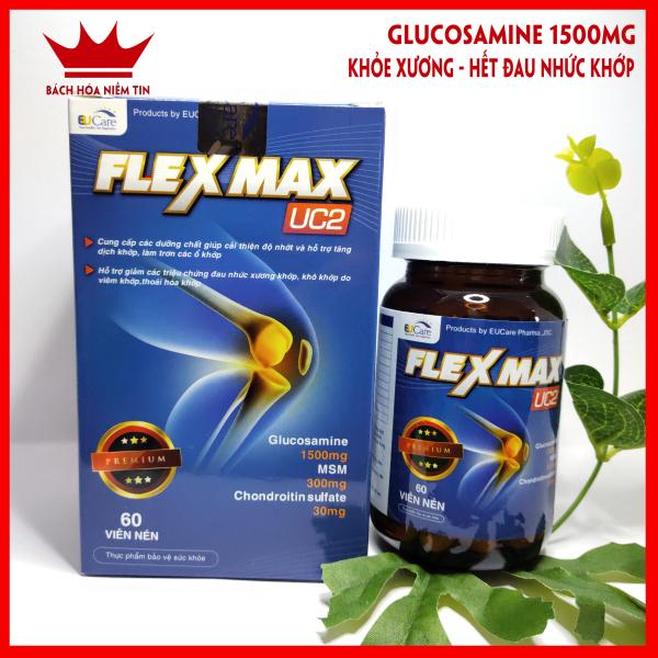 FLEXMAX UC2 - Glucosamin 1500mg - Giảm đau khớp, viêm khớp, thoái hóa cơ xương khớp, đau lưng, đau nhức - Chuẩn GMP