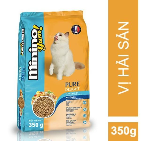 Thức ăn cho mèo Minino Yum 350gr - date xa 1/2021, hoàn toàn không có chất tạo màu, an toàn cho sức khỏe bé cưng