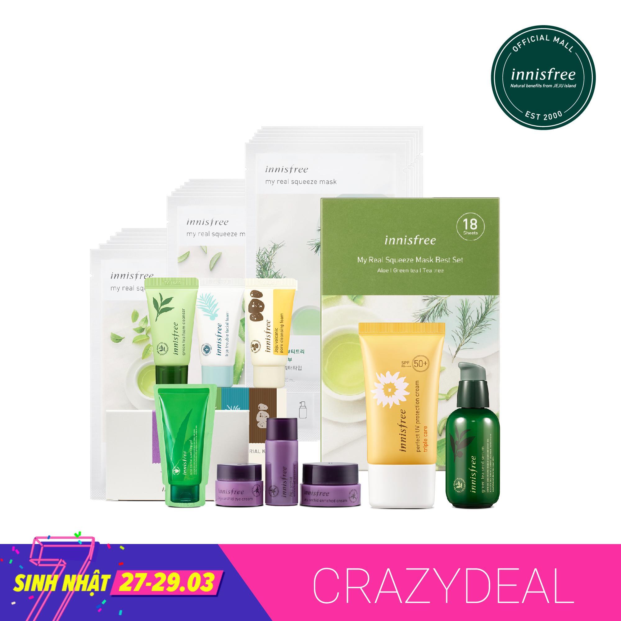 Bộ sản phẩm chăm sóc dưỡng ẩm chống nắng toàn diện Innisfree Green Tea Seed Serum 80ml + Innisfree My Real Squeeze Mask Set 20ml*18 + Innisfree Perfect UV Protection Cream Triple Care 50ml SPF50 PA++++