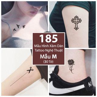 Bộ 185 Mẫu Hình Xăm Dán Hình Xăm Tattoo Cao Cấp Combo 30 Tờ - Mẫu M thumbnail