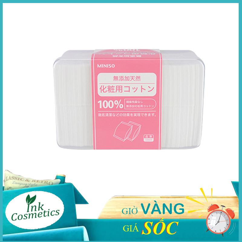 Bông Tẩy Trang Siêu Mỏng Nhật Bản Miniso Hộp 1000 Miếng 100% Cotton Nguyên Chất Dai Mềm, Không Gây Kích Ứng.