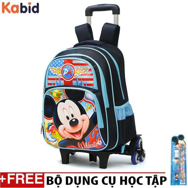 Giá bán BALO KÉO cho học sinh cấp 1,2 leo bậc thang với 6 bánh xe họa tiết hoạt hình- Tặng set dụng cụ học tập ( MS 014)