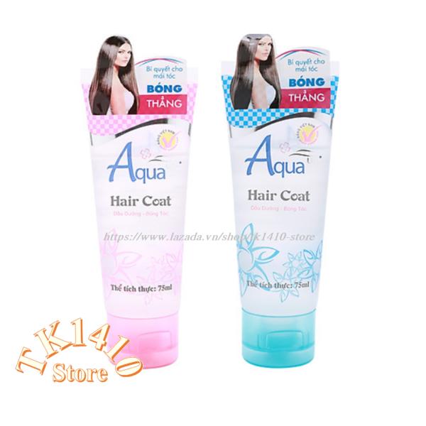 Combo 2 : Dầu dưỡng bóng tóc Hair Coat Aqua up 75ml ( 75 ml x 2 ) / 1 xanh +1 hồng cao cấp