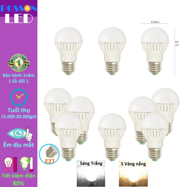 Bảng giá 10 Bóng đèn Led 3w bup tròn bulb tiết kiệm điện giá rẻ Posson LB-E3x