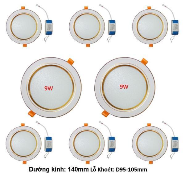 Combo 8 bộ đèn Led âm trần viền vàng 9W 3 màu 3 chế độ