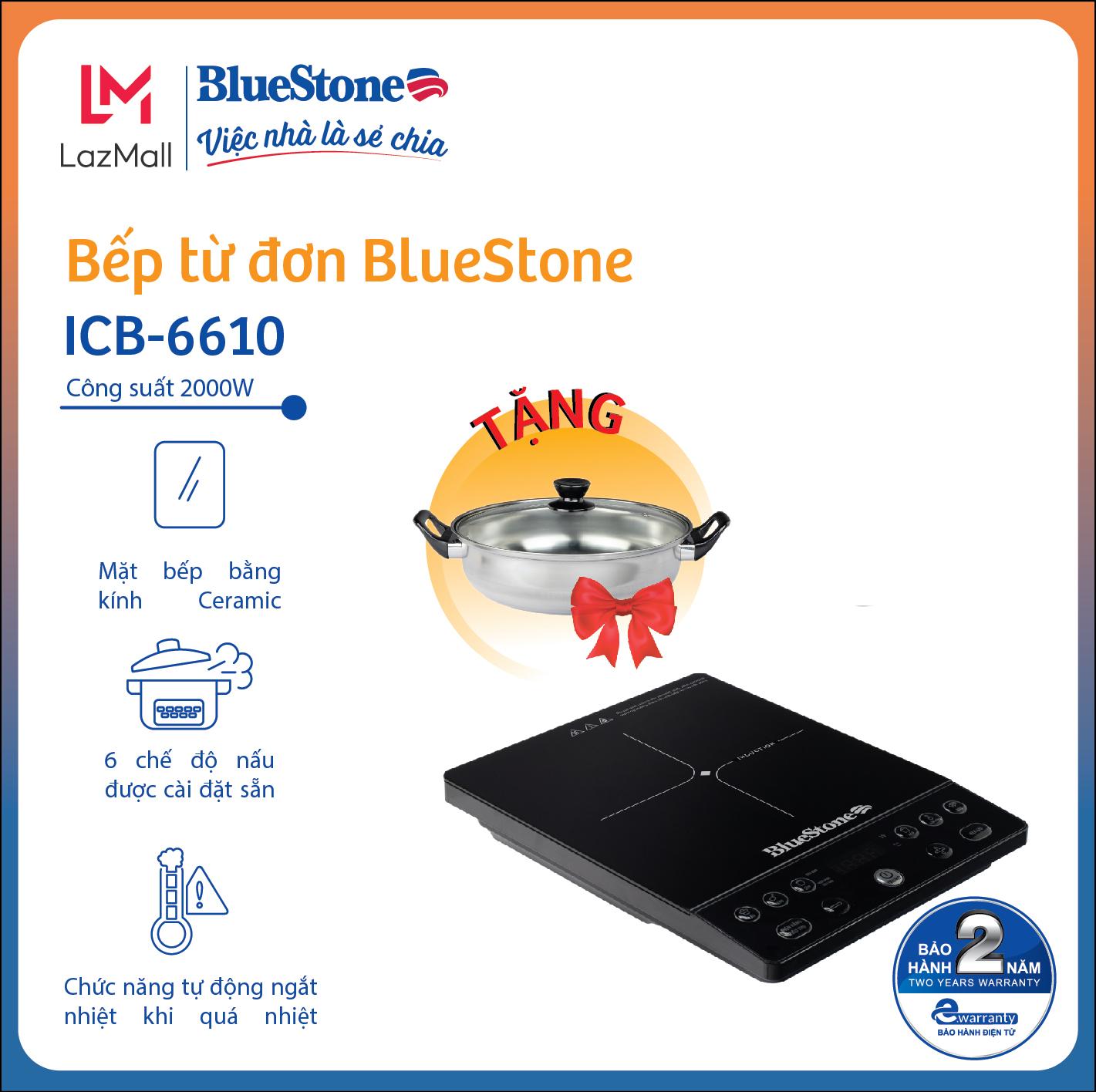 Bếp từ đơn BlueStone ICB-6610 - Công suất 2000W - Tặng kèm nồi - 6 chức năng nấu -Bảo hành 24 tháng - Hàng Chính hãng