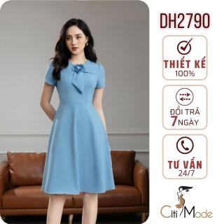 Đầm xòe xanh nữ tính đính hoa DH2790 thumbnail