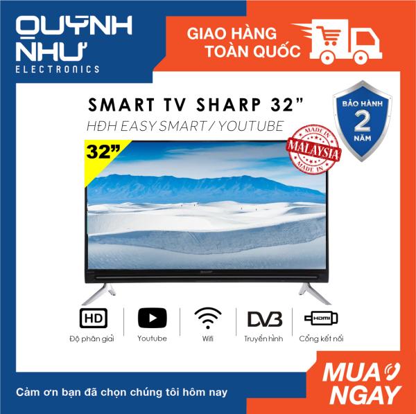 Bảng giá (Trả góp 0%) Smart Tivi Sharp 32 inch LC-32SA4500X (HD, Hệ điều hành Easy Smart, Truyền hình KTS, Youtube, DVB-T2, Kết nối Internet Wifi, Màu đen) - Hàng Malaysia - Tivi giá rẻ - Bảo hành 2 năm