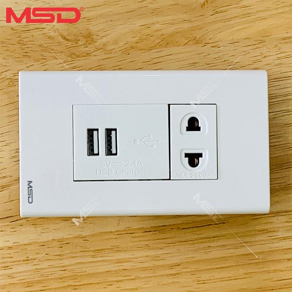 SẠC ĐIỆN THOẠI 2 USB ÂM TƯỜNG 2.4A/5VDC - Ổ CẮM ĐƠN 16A