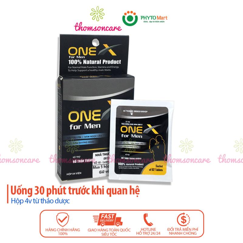 One X for Men - hỗ trợ bổ thận tráng dương, tăng cường sinh lý nam - Hộp 4 viên onex được thomsoncare phân phối