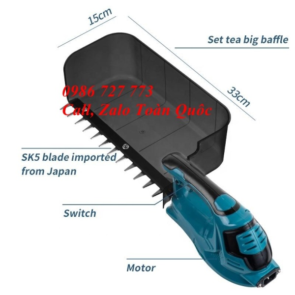 Máy hái chè mini chạy pin SCM thế hệ mới, pin trâu không thấm nước
