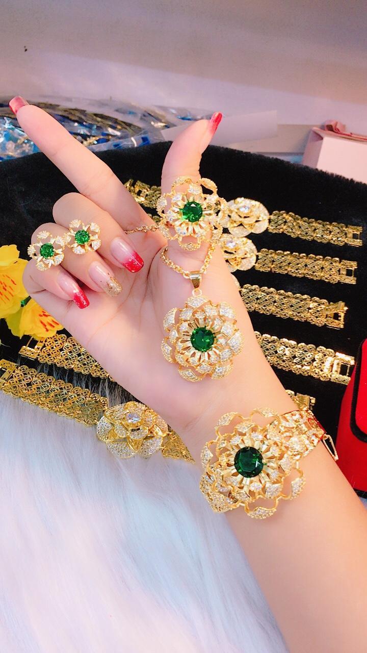 [ TRANG SỨC BỘ HOT 2019 DÙNG ĐI TIỆC - CAM KẾT KHÔNG ĐEN ] trang sức bộ vàng 18k | trang sức vòng bộ | trang sức bộ 18k | bộ trang sức cưới 18k | bộ trang sức 4 món | bộ trang sức bạc đẹp | những bộ trang sức đẹp | bộ trang sức - GiVi Shop