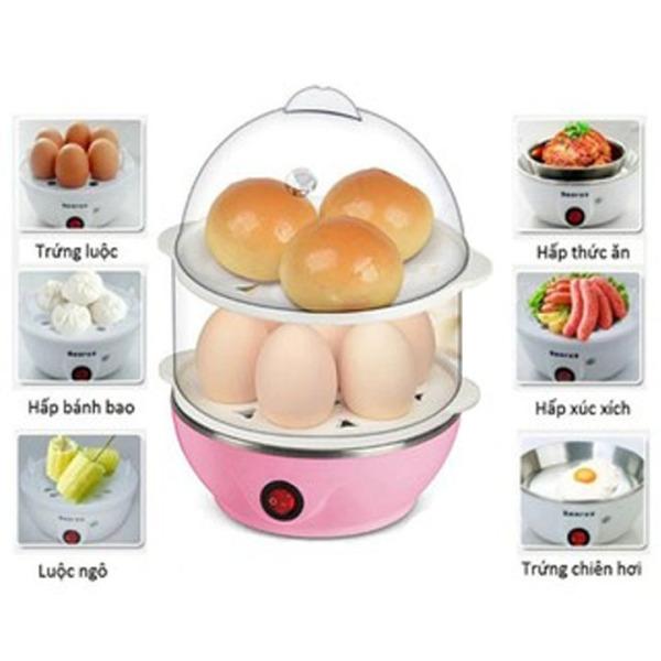 Nồi hấp, luộc trứng và bánh 2 tầng đa năng - Máy hấp thực phẩm 2 tầng: Luộc trứng, hâm nóng thức ăn, hâm nóng sữa cho bé