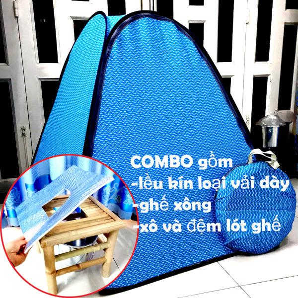 Combo lều xông hơi VẢI DÀY+ghế+xô+đệm ghế