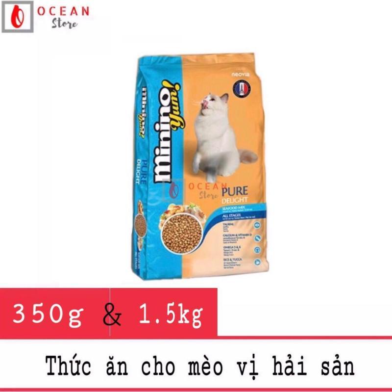 Thức ăn cao cấp vị hải sản cho mèo Minino Yum 350g đầy đủ dưỡng chất thích hợp cho mọi lứa tuổi