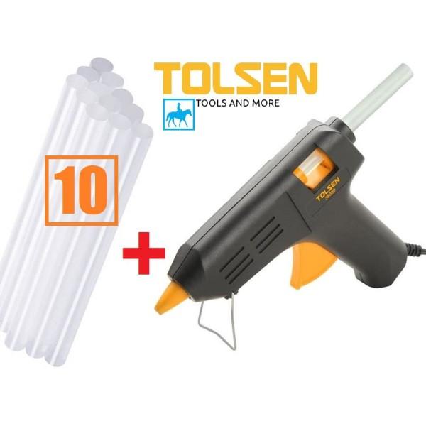 [Thu thập mã giảm thêm 30%] Súng bắn keo điện keo đèn cầy Tolsen 79105 tặng 10 cây keo chất liệu cao cấp bền bỉ chống va đập thiết kế chắc chắn đảm bảo an toàn cho người sử dụng