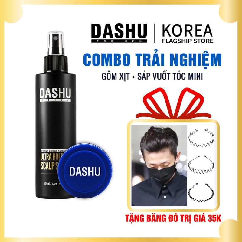 Combo gôm sáp vuốt tóc nam Dashu for men premium ultra holding power 15ml, keo xịt tạo kiểu Dashu Daily Ultra Holding Scalp Spray 50ml, keo xịt wax vuốt tóc nam Hàn Quốc, vào nếp siêu nhanh, thuận tiện bỏ túi mang đi chơi, du lịch giá rẻ