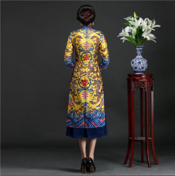 áo dài long bào lửng cao cấp - KHÔNG KÈM VÁY