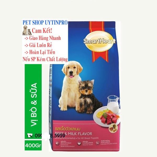 THỨC ĂN CHÓ CON SmartHeart Vị Thịt Bò và Sữa Gói 400g Xuất xứ Thái Lan