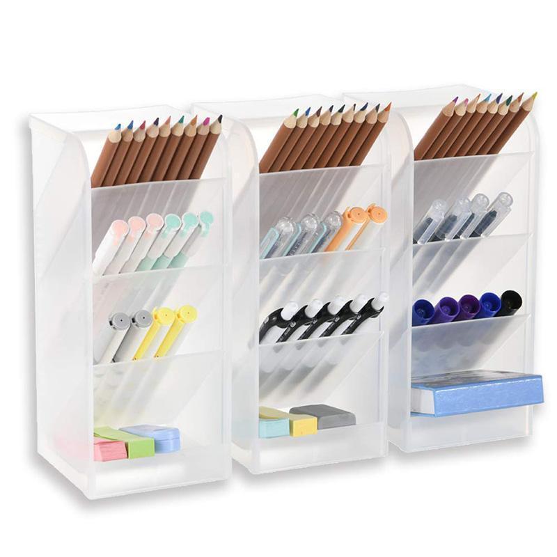 Mua 3 Pcs Big Desk Organizer- Pen Organizer Storage for Office, School, Home Supplies, Translucent White Pen Storage Holder, High Capacity, Set Of 3, 12 Compartments (White)