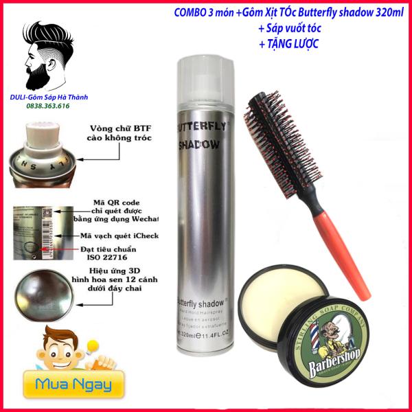 [tặng lược]Sáp vuốt tóc BarberShop Chính Hãng + GÔM XỊT TÓC butterfly 320ml giữ nếp tặng lược/ wax vuốt tóc/ keo vuốt tóc/ sap vuot toc/ wax/combo giá rẻ