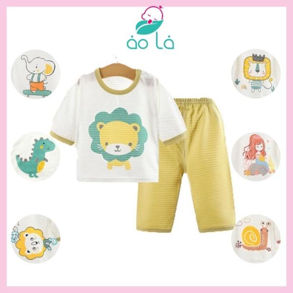 Giá bán [HCM]Bộ lửng dài cho bé gái bé trai vải cotton tăm tre Áo Lá Homewear đồ ngủ cho bé