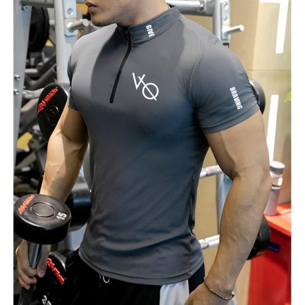 Áo Thể Thao Nam Cộc Tay Chuyên Tập Gym & Chạy Bộ - Hàng Siêu Cấp, Áo cổ trụ kéo khóa, co dãn 4 chiều
